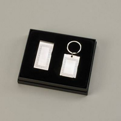 Personalized Greek Key Money Clip & Key Chain Gift Set