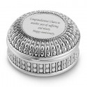 Personalized Silverplated Round Jewelry Box with Beaded Antique Design