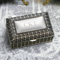 Personalized Silver Plated Rectangular Jewelry Box with Beaded Antique Design