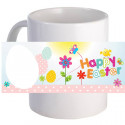 "Personalized ""Flower Happy Easter!"" Coffee Mug Custom Printed Image"