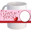 "Personalized ""Pink Stripe Love"" Coffee Mug With Custom Printed Image"