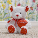 Plush Toy Lovey Teddy Bear White Red Heart Shaped Pillow Perfect Gift