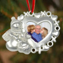 Personalized Engravable Silver Snowman and Heart Photo Frame Ornament
