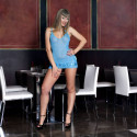Sheer Turquoise Spaghetti Strap Chemise Stretch