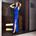 Royal Blue Exotic Gown Set Lace Halter Style Chemise with Trim
