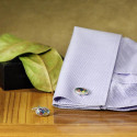 Colorful Inset Oval Shaped Cuff Links Suitable For Any Outfit