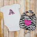 Personalized Zebra Print Bib and Creeper Set