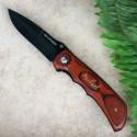 Engraved Wood Folding Pocket Knife
