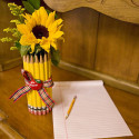 Pencil Shape Vase With Decorative Apple Beautiful Gift For Teacher