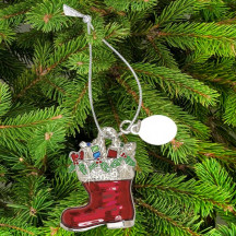 Personalized Red Santa Boot Ornament with Custom Message Name Engraved