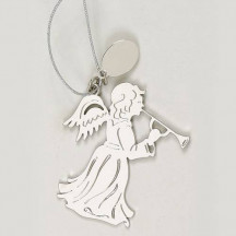 Personalized Angel Christmas Ornament With Horn and Pouch