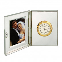 Personalized Polished Silver Office Desk Clock With Frame