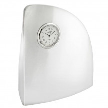 Personalized Silver Polished Curved Ocean Wave Desk Clock