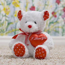 Plush Toy Lovey Teddy Bear White Red heart Shaped Pillow