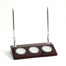 Personalized 3 Time Zone Desk Clock with 2 Pens