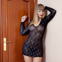 Sparkly Lace Mini Dress with Long Sleeves  Night Clubwear Party Bodycon Slim
