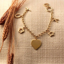 Personalized 5 Charm and Heart Bracelet