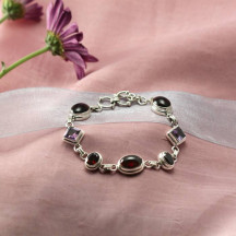 Silver Bracelet With Amethyst & Garnet Beautiful Ladies Gift Any Event