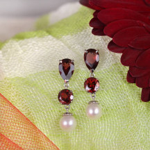 Gold Chandelier Earrings Have Garnets and Pearls