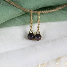 Gold Lever Back Diamond and Black Pearl Earrings