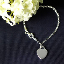 """6"""" Rolo Bracelet with Heart Tag With Custom Engraved Name Initials"""