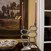 Cast Polished Aluminum Abstract Candlesticks, Set