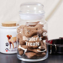 Engraved Dog Treat Glass Jar