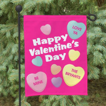 Personalized Candy Hearts Garden Flag