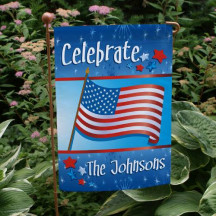 July 4th Celebration Personalized Garden Flag