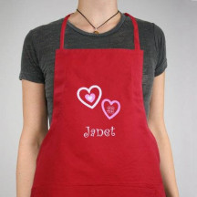 Embroidered Hugs and Kisses Kitchen Apron