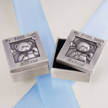 Baby First Curl and Tooth Silver Box Set with Custom Name Date Printed