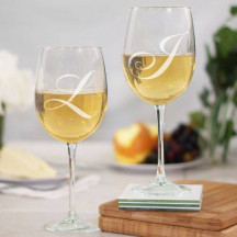 Engraved Couples Initials Wine Goblet Set