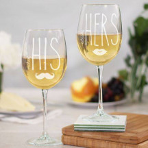 Engraved His and Hers Wine Glass Set