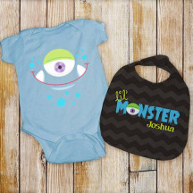 Personalized Lil' Monster Bib and Creeper Set