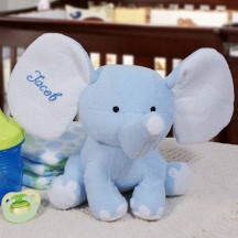 Embroidered Blue Plush Elephant