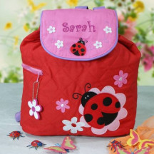Quilted Ladybug Embroidered Backpack