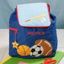 Sports Embroidered Quilted Backpack