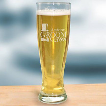 Engraved Groom Crew Pilsner Glass