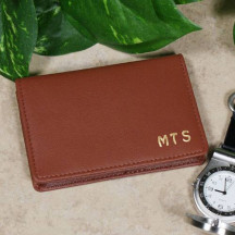 Personalized Tan Leather Business Card Holder Wallet