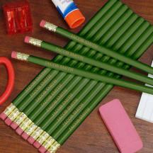 Engraved Green School Pencils