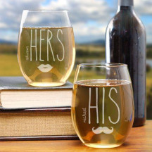 Engraved His & Hers Stemless Wine Glasses