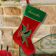 Holly Berry Christmas Stocking