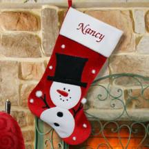 Frosty Velvet Christmas Stocking