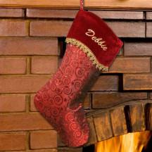 Red swirl velvet stocking