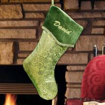 Green Swirly Sparkly Christmas Stocking