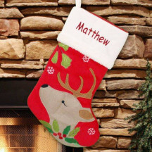 Whimsical Reindeer Christmas Stocking