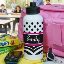 Personalized Zebra Print Water Bottle