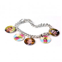 Personalized Custom Image Charm Bracelet with 5 Round Charms