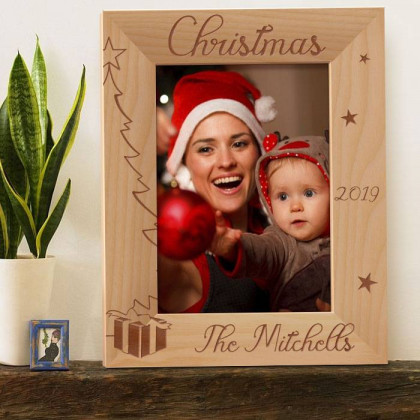 "Personalized Merry Christmas by Year Wooden Picture Frame 5"" x 7"" Finished"