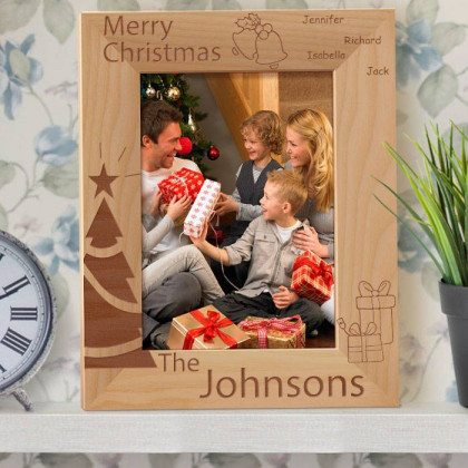 "Merry Christmas to You and Your Family Personalized Wooden Picture Frame 5"" x 7"" Finished (Frames)"
